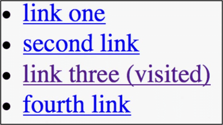 Visited links tell you which link you have already visited by changing its color
