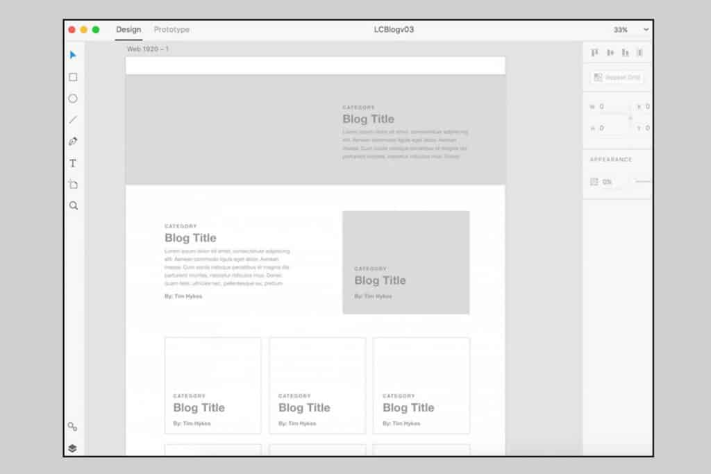 Create a low fidelity wireframe to understand how the web page will look