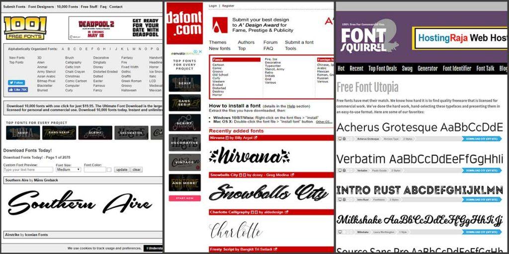 Font Squirrel and 1001 Free Fonts and DaFont - Font Maker Tools