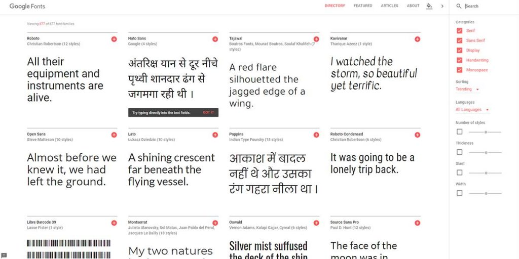 Google Fonts - Find Fonts from The Free Online Graphic Design Tool