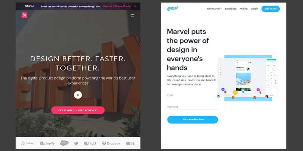 Marvel and InVision - Interaction Design Tool Online for Free