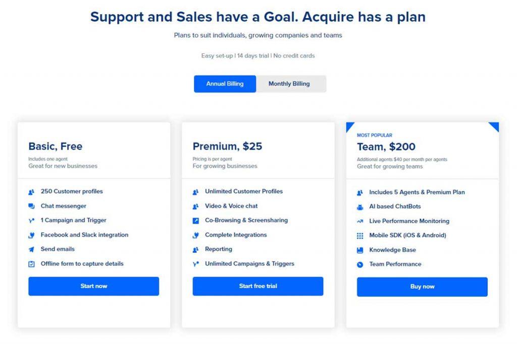 Acquire.IO Upgrade Pricing