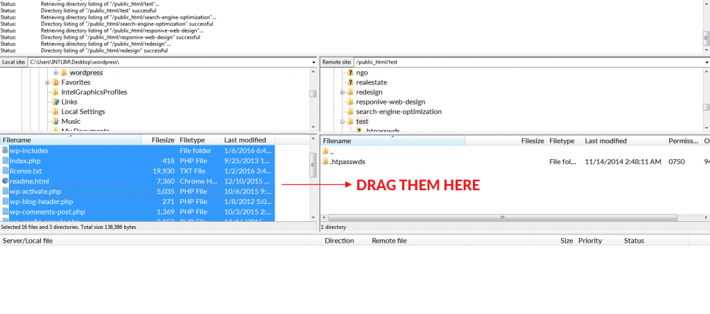 FileZilla drag files
