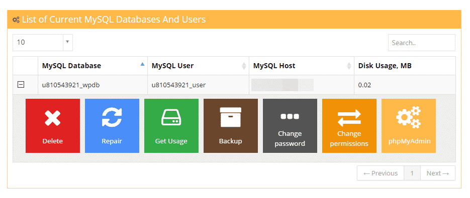 mysql database settings