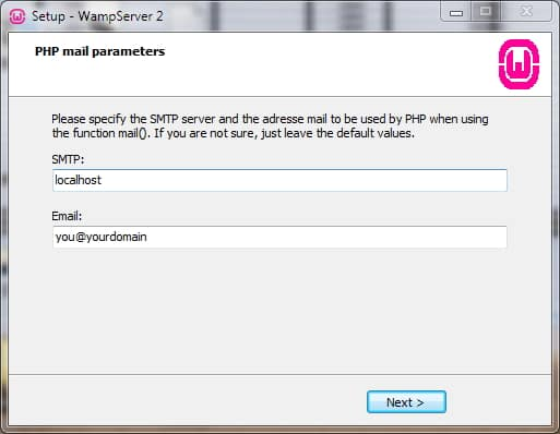 wamp php mail config