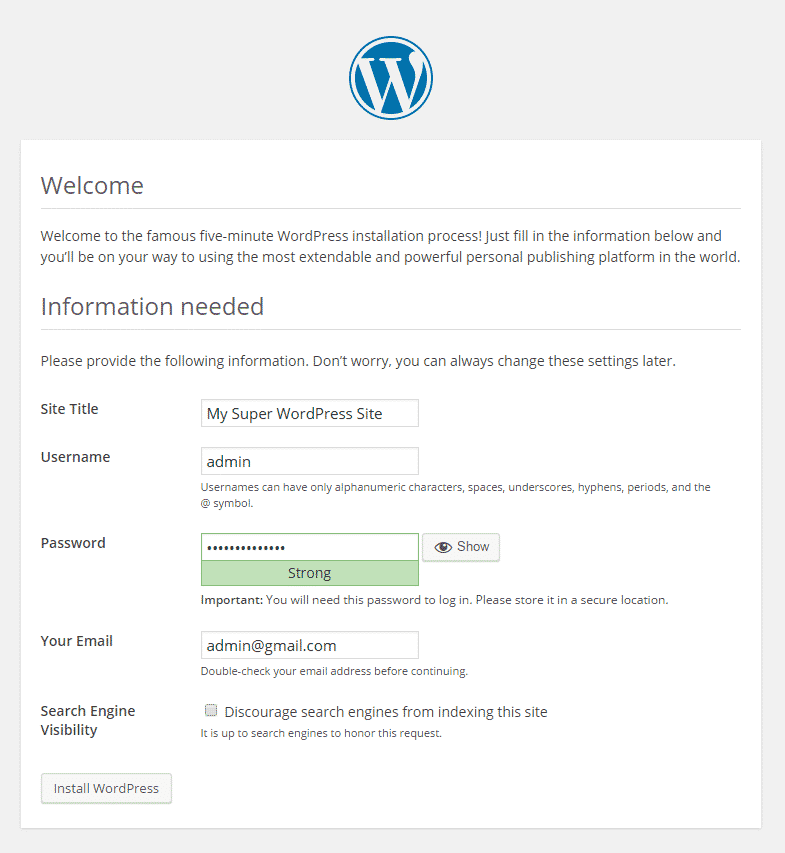 five-minute WordPress installation page