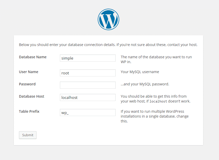 wordpress database config