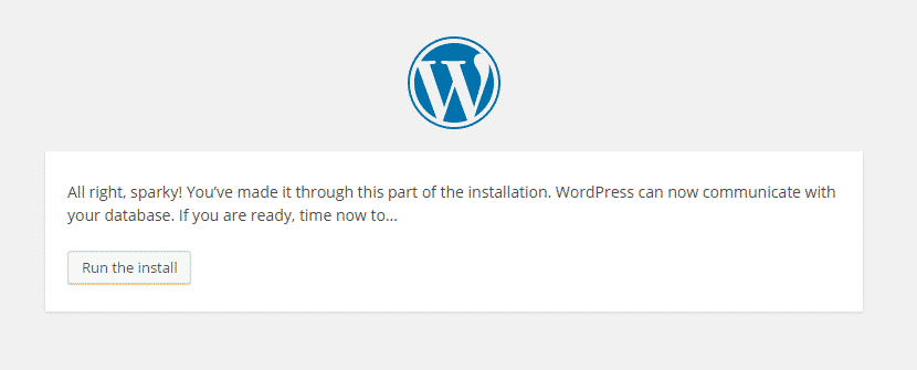 wordpress run install