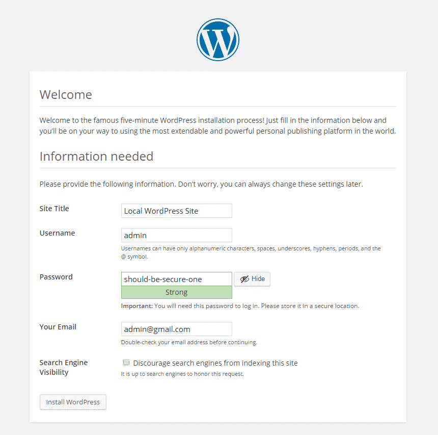 wordpress site config