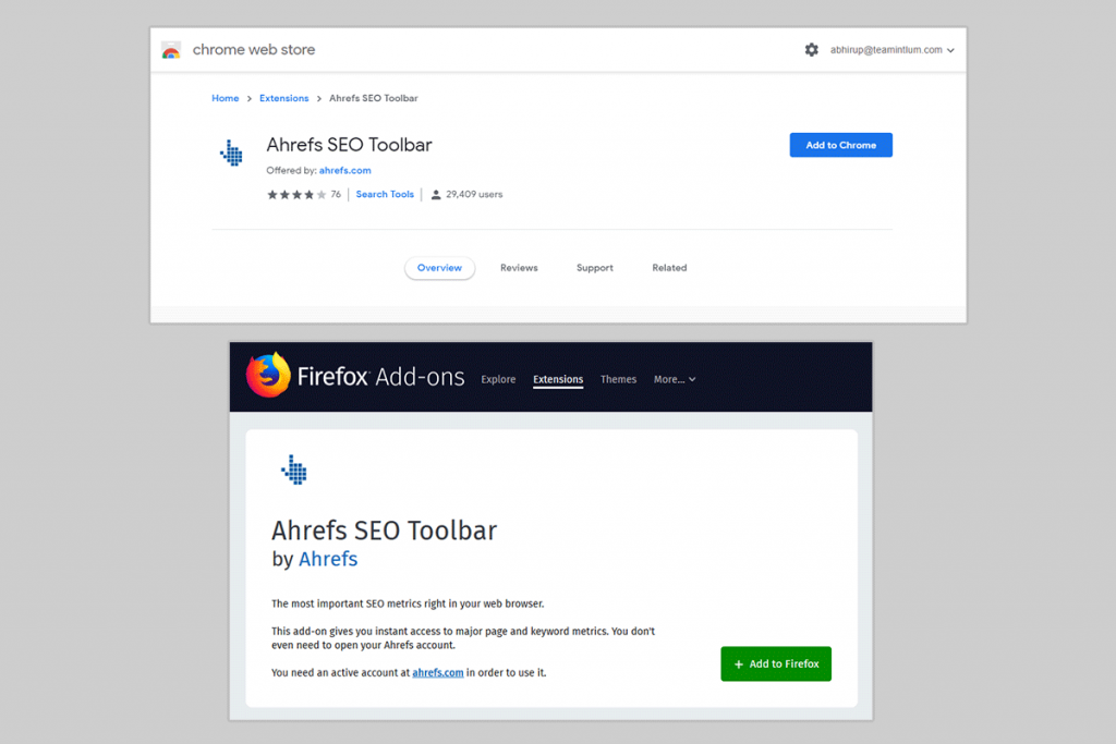 Add Ahref Extension on Chrome or Mozilla