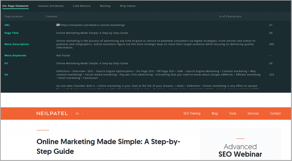 MozBar Page Analysis of Neil Patel - Online Marketing