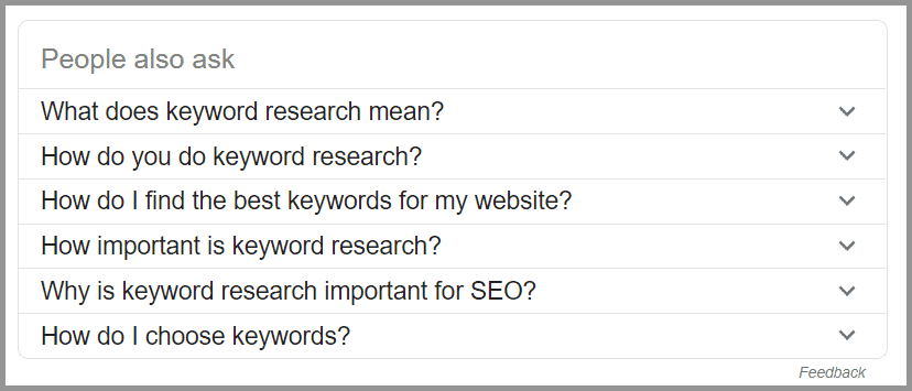 People Also Ask Box for Long Tail keyword