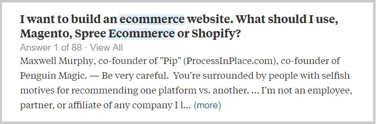 Quora Question - Magento vs Shopify