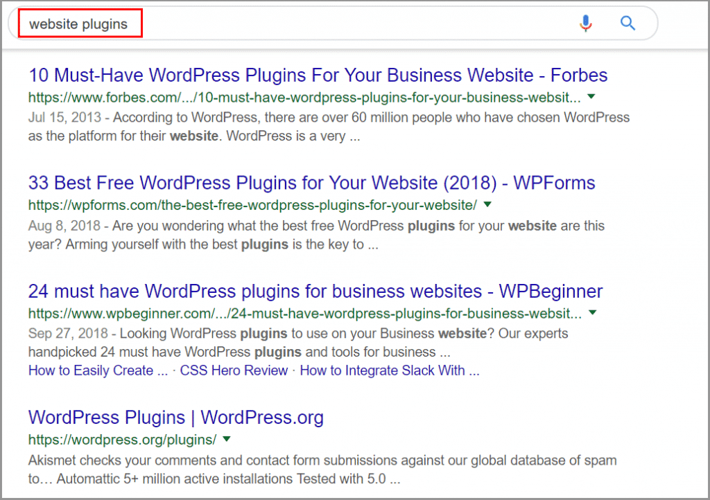 Topic-Based SERP Result