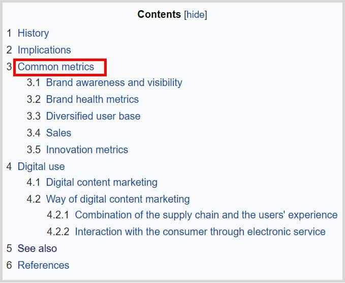 Wikipedia Niche Market Research - Content Section
