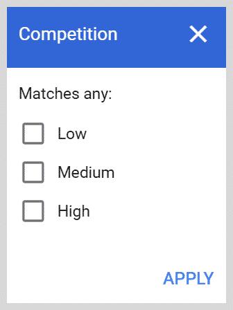 Keyword Competition Filter on Google Keyword Planner