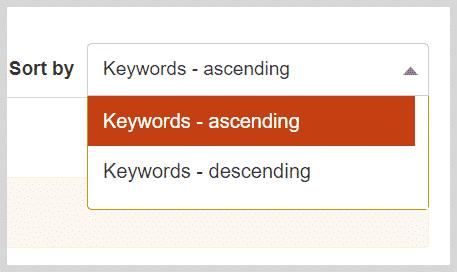 KeywordTool IO Keyword Sorting