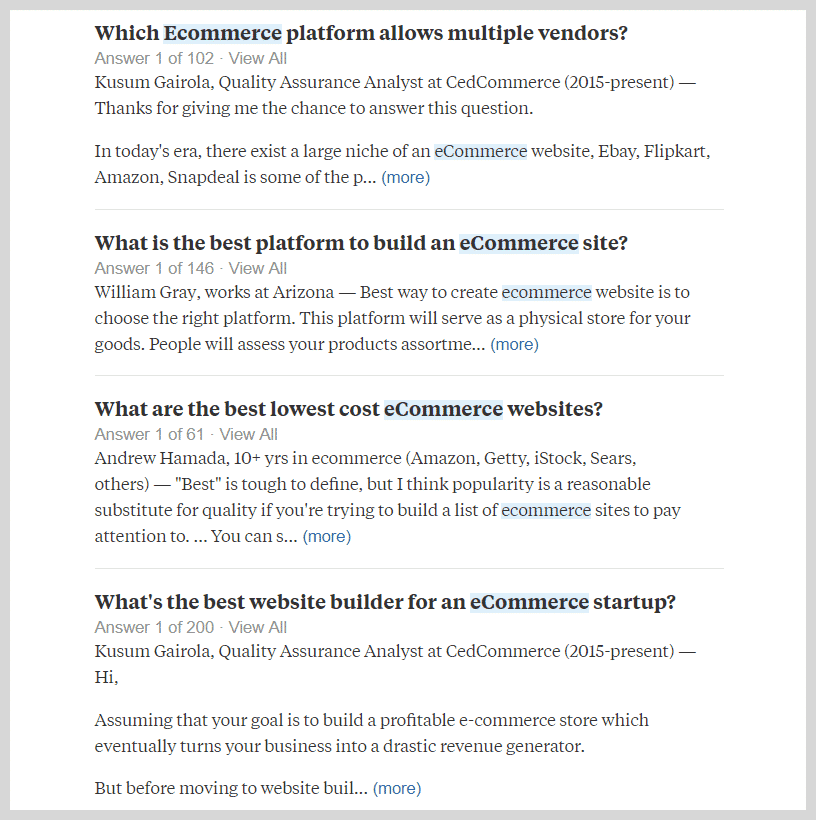 Quora Search Result