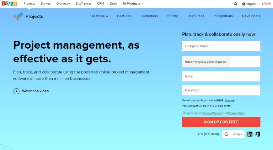 Zoho Projects - PMS tool for business