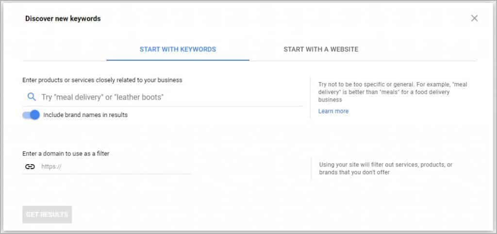 Google Keyword Planner - Search Feature